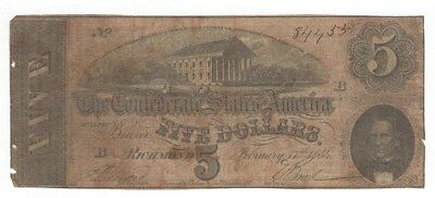 Confederate States Of America 1864 $5 Note From Richmond  Signed Note