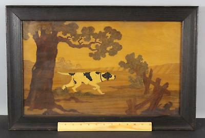 Antique c1900 Marquetry Wood Inlay Plaque English Pointer Bird Hunting Dog NR
