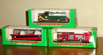 new 1999, 2000 & 2002 HESS Miniature FIRST & FIRE TRUCKs & VOYAGER in orig boxes
