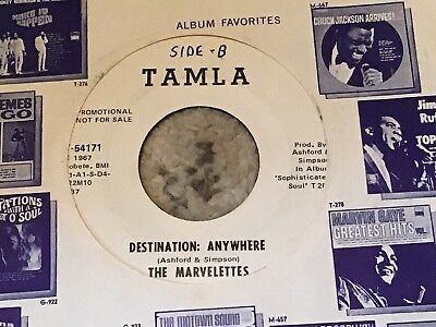 45 RPM Marvelettes TAMLA DJ 54171 Destination Anywhere  MOTOWN NORTHERN VG++