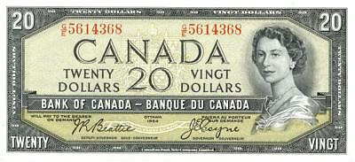 Canada $20 Dollars Currency Banknote 1954  CU
