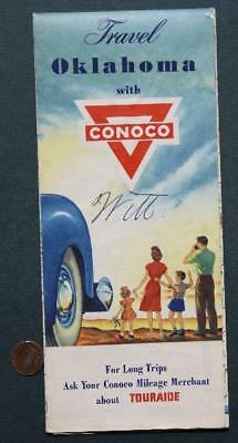 1940s Conoco Oil Gas service station Travel State of Oklahoma road map-VINTAGE!