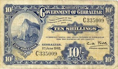Gibralter 10 Shillings Currency Banknote 1942