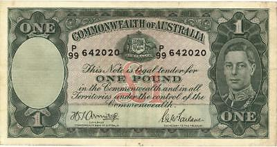 Australia 1 Pound Currency Banknote 1942