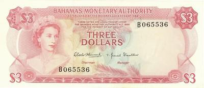 Bahamas $3 Currency Banknote 1968  XF