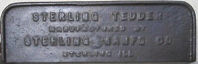 Sterling Illinois Tedder Cast Iron Identification Name Plate - Original
