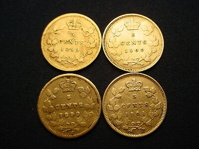 4 X Victorian Silver 5 Cents!!