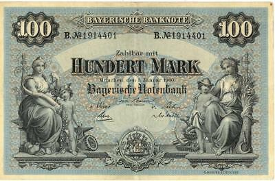 Germany Bavaria 100 Mark Currency Banknote 1900