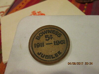 RARE vintage Bowness Alberta Canada WOODEN NICKEL 1911-1961 Jubilee 5 cent