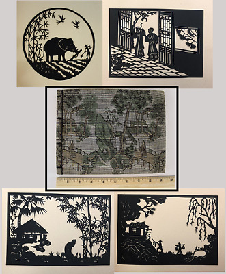 8 Antique Temple Hill Cut-Outs Folklore Silhouettes Filial Sons of China, Book