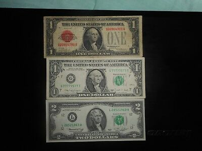 Lot of 3 with cool serial  notes, dollars,1928,1976,1988A,