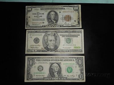 Lot of 3 with star note, dollars,1929,1999,2006 low serials