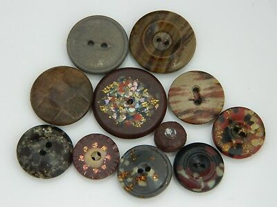 Lot Antique Composition Buttons Most w/ Inlay Pearl Glitter Flecks Mottling ++