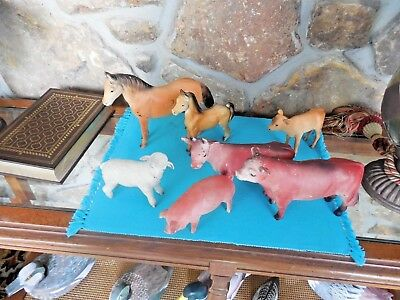 Lot of 7 Vintage CREATIVE PLAYTHINGS RUBBER FARM ANIMALS Sheep Cow Horse Pig
