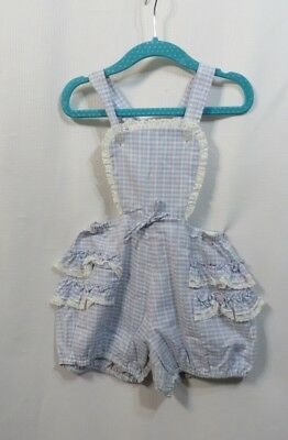 Vintage 50s Romper Sunsuit Sun Suit Cotton Ruffles Lace Toddler Baby Rockabilly