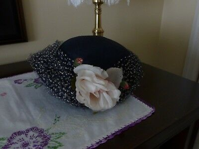 Vintage Ladies Hat ~ Black with Veil and Flower on Side
