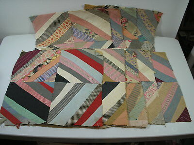 Antique 1920s Nine Paper-Pieced 12x12 String Quilt 4-Patch Blocks Knoxville TN