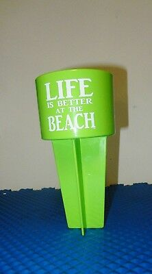 "Spiker Single 8"" Beach Drink Cup Holder Sand Coaster Made in the USA Lime New"