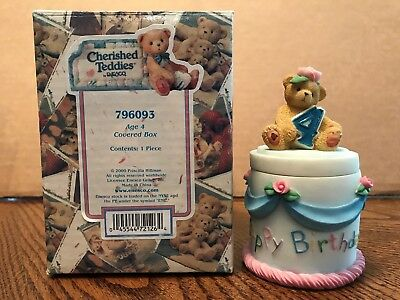 Enesco Cherished Teddies Birthday Age 4 Covered Box  796093