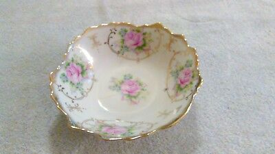 "Vintage Trimont Ware Japan 7"" Bowl Gold Trim Pink Flowers"