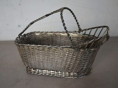 """Christofle Gallia WOVEN Silver-plated Wine Basket Caddy 9 1/2"""" FRANCE"""