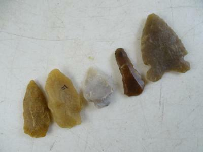 Antique Aztalan WI Native American Indian Stone Point Tool Arrowhead Chert x5