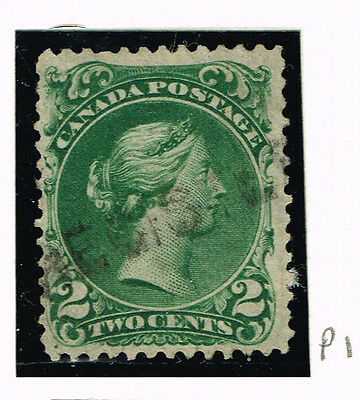 CANADA LARGE QUEEN #24b THIN PAPER  FINE REGISTERED  CANCEL   (ULY4
