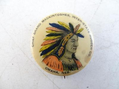 Antique 1898 Chief Mackintoshes Inter-State Rubber Tire Indian Pin Button Vtg