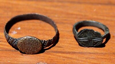 Old Middle Ages Bronze Ring & Small Viking Bronze Ring With Runes (2 rings) LOT