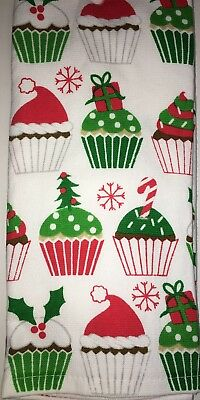 2 Christmas Cupcakes Kitchen Towels Sprinkles Santa Hat Candy Cane Tree Holly