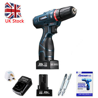 Portable 25V Li-Ion Cordless Electric Drill Driver Kit Two-Speed LED Bits 240V L