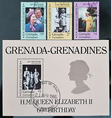 Grenada Grenadines 1986 Sc # 749 to Sc # 752 Mini Sheet Mint CTO QE II Stamps