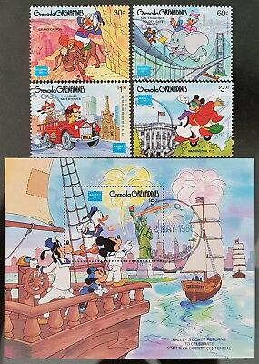 Grenada Grenadines 1986 Disney Sc # 753 to Sc # 757 Mini Sheet Mint CTO Stamps