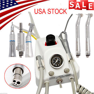 Dental Portable Turbine Unit 4 Hole work w/ Compressor +High Low Speed Handpiece