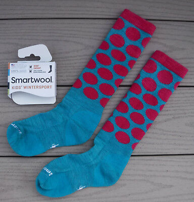 "NWT SMARTWOOL Kids Wintersport ""All Over Dot"" Light Cushion Socks-M (US 12-2.5)"