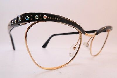 Vintage 50s eyeglasses frames black acetate gold filled diamanté NYLOR France