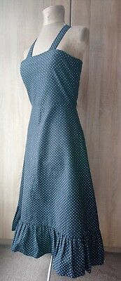 Beautiful 1950s 1960s vintage black white spotted denim cotton day dress sz 8