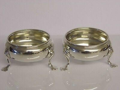 A Pair Of Antique George Ii Solid Silver Salts - Dorothy Mills & T Sarbitt 1748