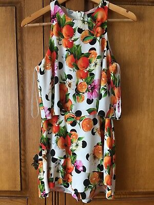 cac6c191d4 River Island White Polka Dot Orange Tiered Frill Playsuit Size 10 BNWT