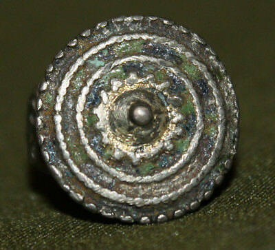 Antique hand made medieval Greek silver ring