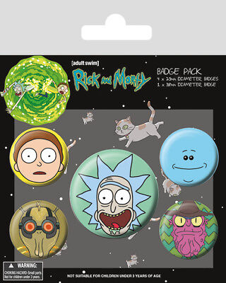 Button Badge 5er Pack RICK AND MORTY - Mix - Faces 1x38mm & 4x25mm BP80615