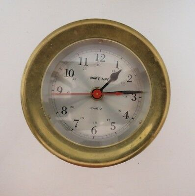 SHIPS TIME CLOCK ~ Wall Hanging  Solid Brass Case  Quartz  Nice Patina