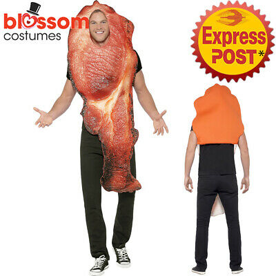 CA313 Bacon Costume Mens Ladies Novelty Food Couples Comical Funny Party Outfit
