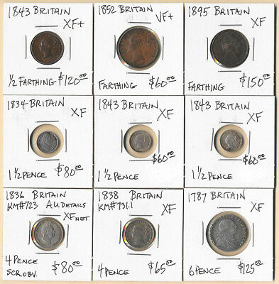 (1787-1895) Nine British Coins 1/2 Farthing To 6 Pence Cv $800 >> No Reserve