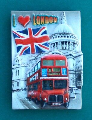 Souvenir Fridge Magnet London Bus And St. Paul's Cathedral England