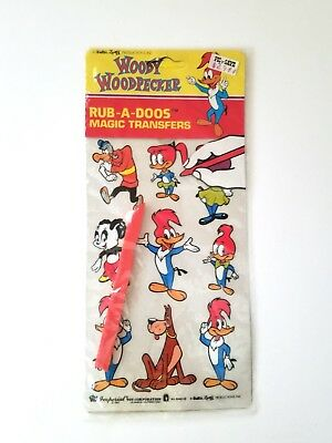 Vintage 1982 WOODY WOODPECKER Rub-A-Doos Magic Transfers by Imperial Toy Corp