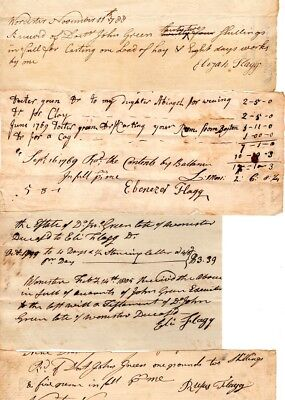 18th Century, Flagg family, Worcester, Mass. document group signed