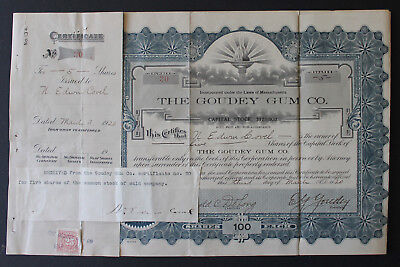 1920 Stock Certificate/Goudey Gum/First to put Baseball Cards in Gum Wrappers
