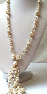"Stunning Vintage Estate Signed Japan Faux Pearl Beaded 5"" 32"" Necklace!!! 1201I"