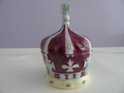 Rare Vintage Crown Staffordshire Crown Shaped Trinket Pill Box & Cover 4""